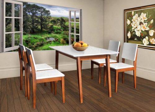 Bộ bàn ăn khung gỗ HGB63A, HGG63