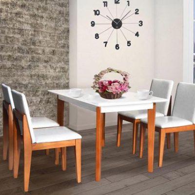 Bộ bàn ăn khung gỗ HGB62A, HGG62