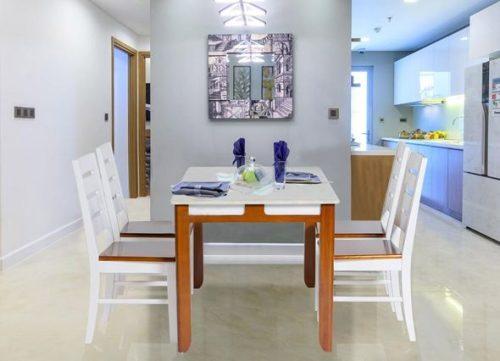 Bộ bàn ăn khung gỗ phủ sơn HGB64A, HGG64