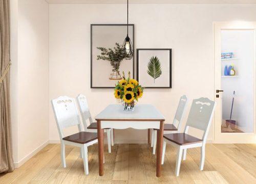 Bộ bàn ghế phòng ăn gỗ Hòa Phát HGB70B, HGG70