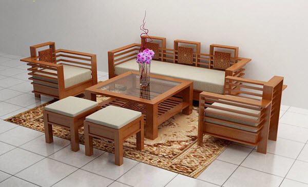Những mẫu bàn ghế gỗ phòng khách đẹp nhỏ gọn