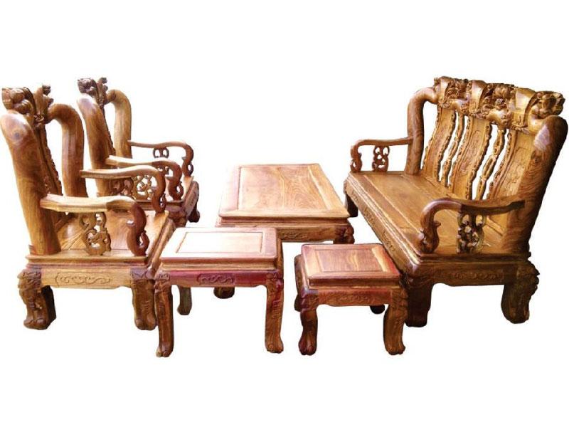 bộ salon gỗ đào hương tay 12 SLG827
