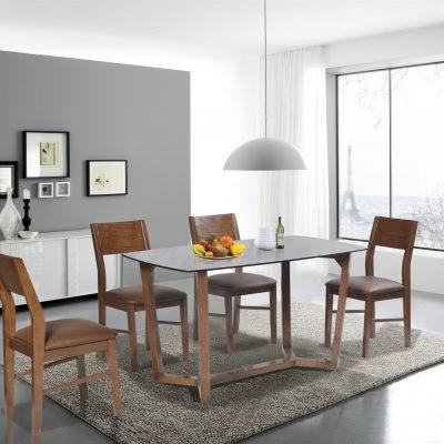 Bộ bàn ăn giá đình khung gỗ HGB69A, HGG69
