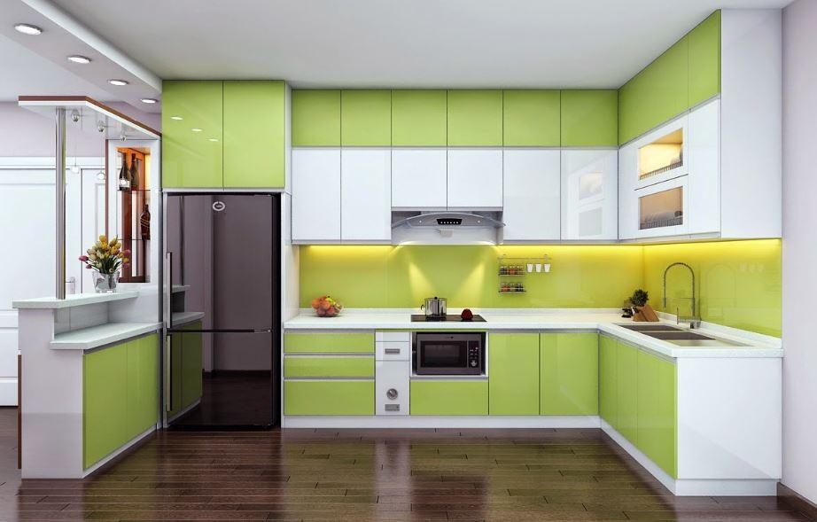Thiết kế tủ bếp với tông màu xanh dịu nhẹ năng động