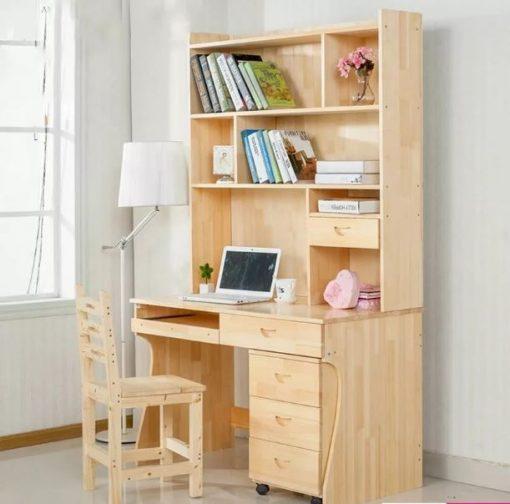 bàn học sinh liền giá sách gỗ tự nhiên