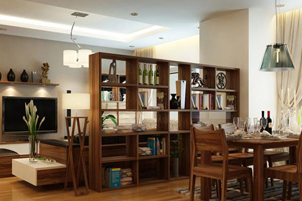 vách ngăn giữa phòng khách và phòng ăn