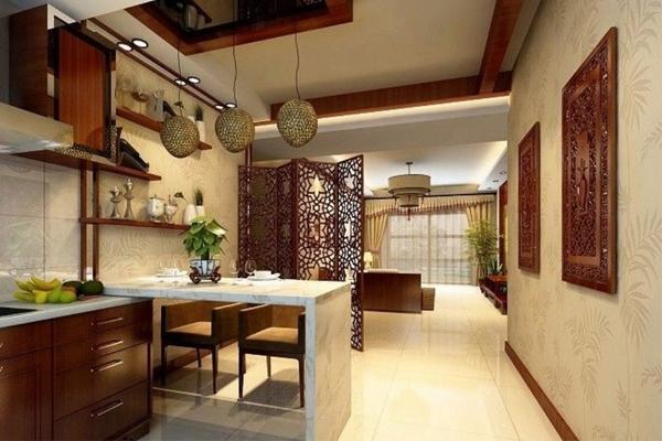 vách ngăn giữa phòng khách và phòng ăn bình phong di động
