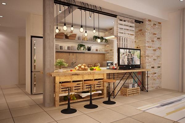 vách ngăn giữa phòng khách và phòng ăn quầy bar
