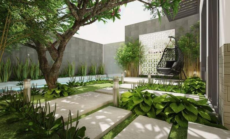 Khu vườn với nhiều cây xanh giúp không gian trở nên thư thái, tươi mát hơn