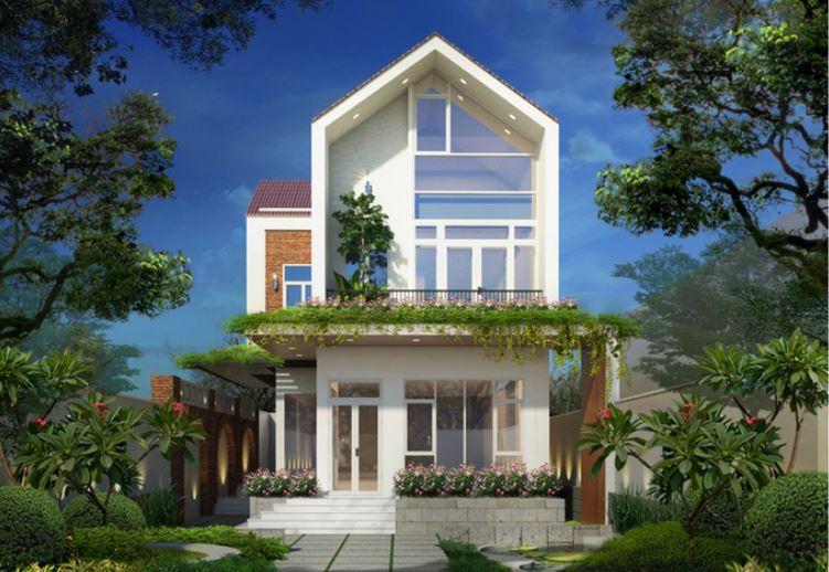 Nhà 2 tầng được thiết kế có không gian xanh