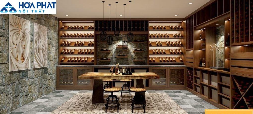 Tủ rượu gỗ sồi hiện đại