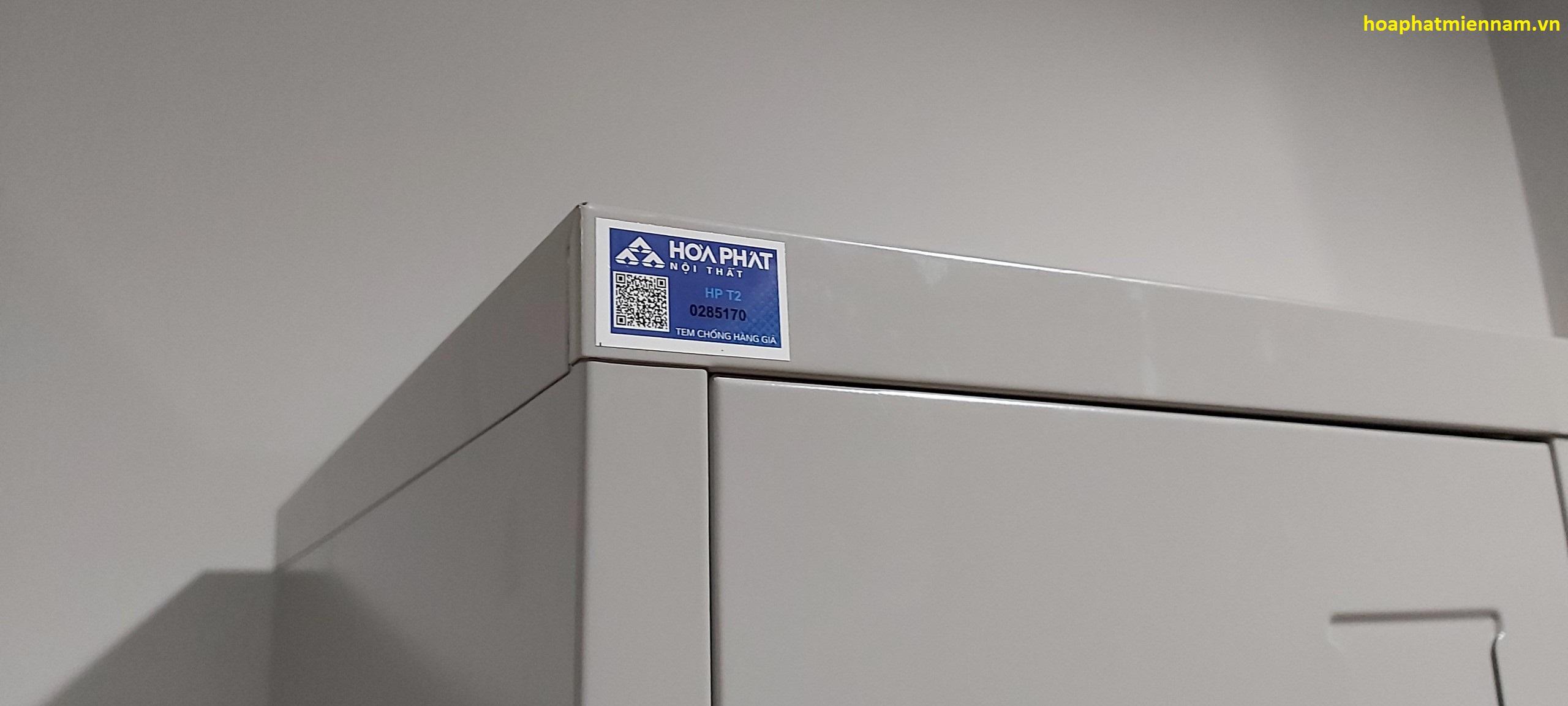 Sản phẩm tủ đựng thiết bị hòa phát với tem chống hàng giả kiểu mới