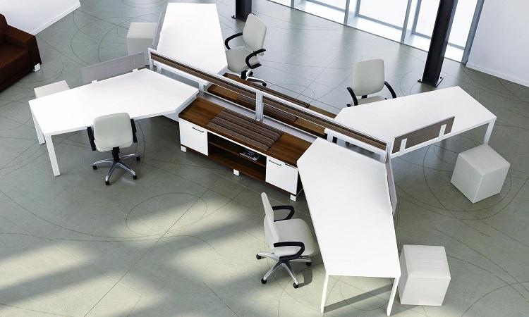 Chiếc bàn module 4 chỗ với thiết kế chữ X mở rộng