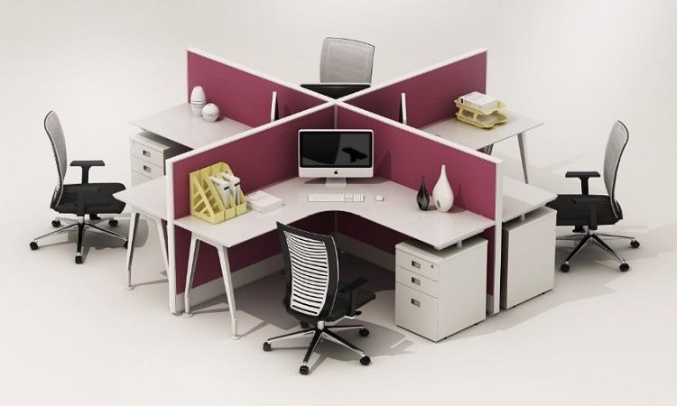 Bàn cụm 4 người Hòa Phát hình chữ X thể hiện được nét hiện đại, đầy phá cách cho văn phòng