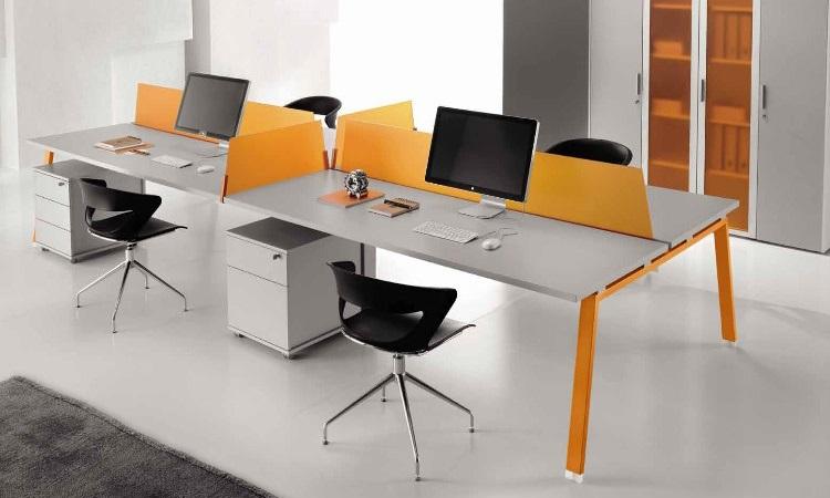 Cụm bàn làm việc 4 ghế thiết kế theo hình chữ nhật