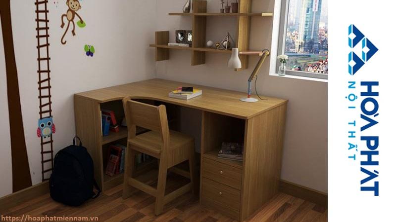 Mẫu bàn học sinh bằng gỗ chữ L
