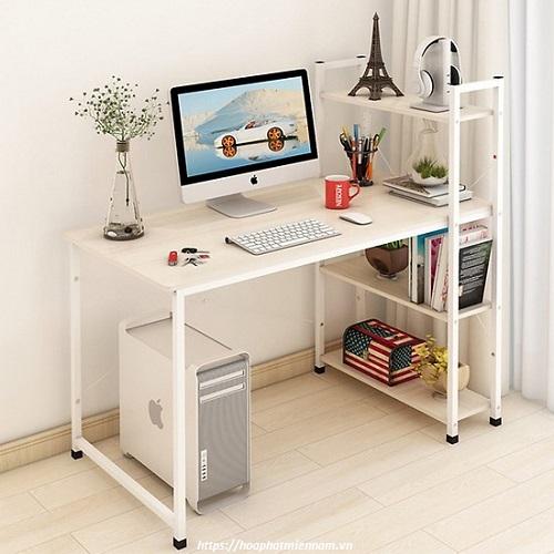 Sắc trắng nhẹ nhàng cho chiếc bàn làm việc liền kệ sách đa năng