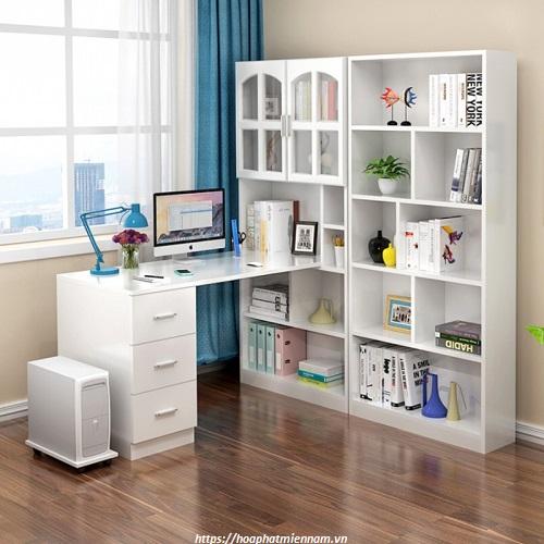 Không gian làm việc trở nên hiện đại hơn với bàn làm việc liền giá sách tiện dụng