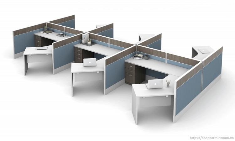 Không gian làm việc rộng rải thì nên sử dụng các mẫu bàn cụm mở rộng