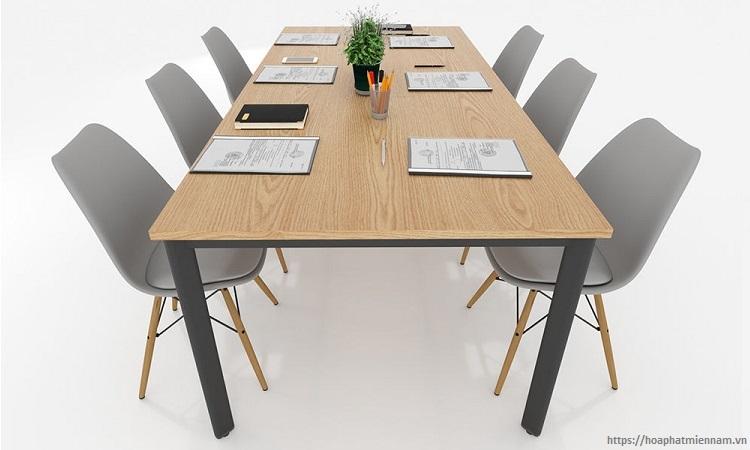 Thiết kế bàn làm việc trơn 6 người
