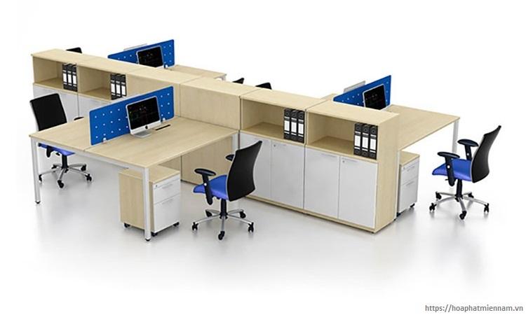 Thiết kế cụm 6 với ghế ngồi so le kèm tủ tài liệu