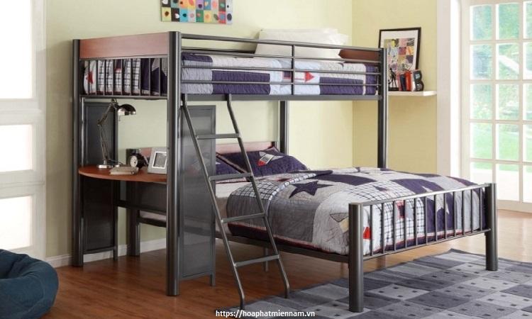 Mẫu giường tầng đôi với 1 bàn học
