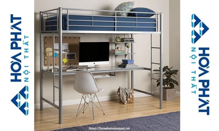 Thiết kế giường tầng kèm bàn dài tiện dụng