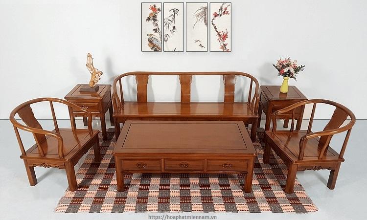 Bàn ghế phòng khách gỗ tự nhiên theo kiểu Trung Hoa
