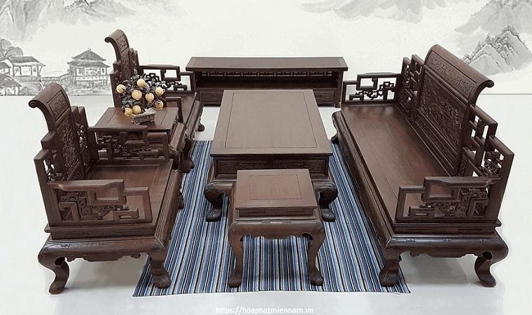 Bộ bàn ghế gỗ với phần tay chạm khắc đẹp mắt