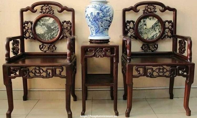 Mẫu ghế đơn bằng gỗ kiểu Trung Quốc khảm đá