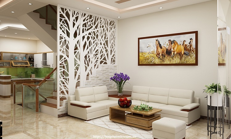 Vách ngăn phòng khách bằng gỗ công nghiệp 9