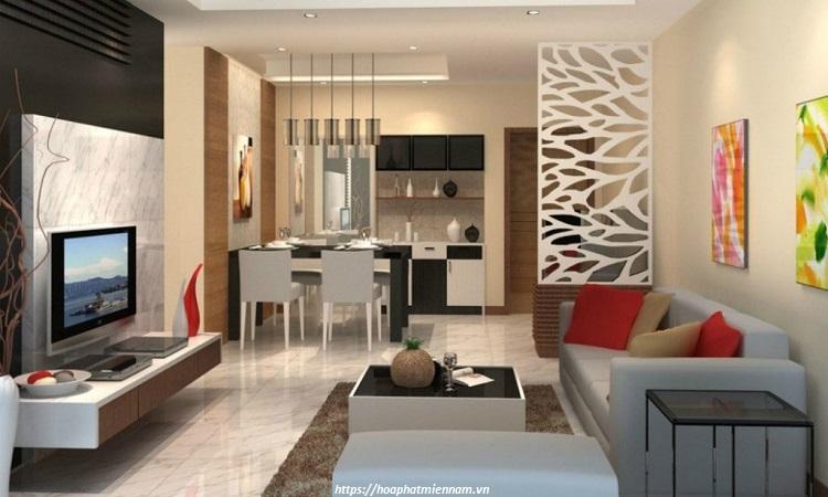 Vách ngăn phòng khách bằng gỗ công nghiệp 6