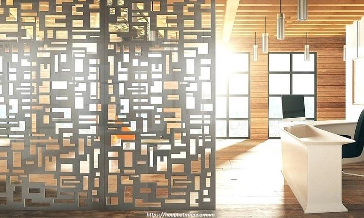 Vách ngăn phòng khách bằng gỗ công nghiệp 1