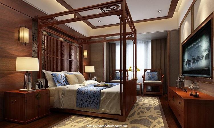 Không gian phòng ngủ phong cách Trung Quốc kèm nội thất gỗ độc đáo