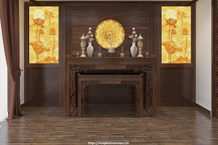 Nên chừa một khoảng không giữa bàn thờ và vách tường, bên cạnh đó bạn có thể đặt một chiếc bàn nhỏ, bục kệ để tạo không gian đặt những món đồ phục vụ việc thờ cúng đằng sau
