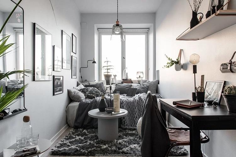 Sắc đen phong cách trong căn phòng ngủ nhỏ đẹp sang trọng