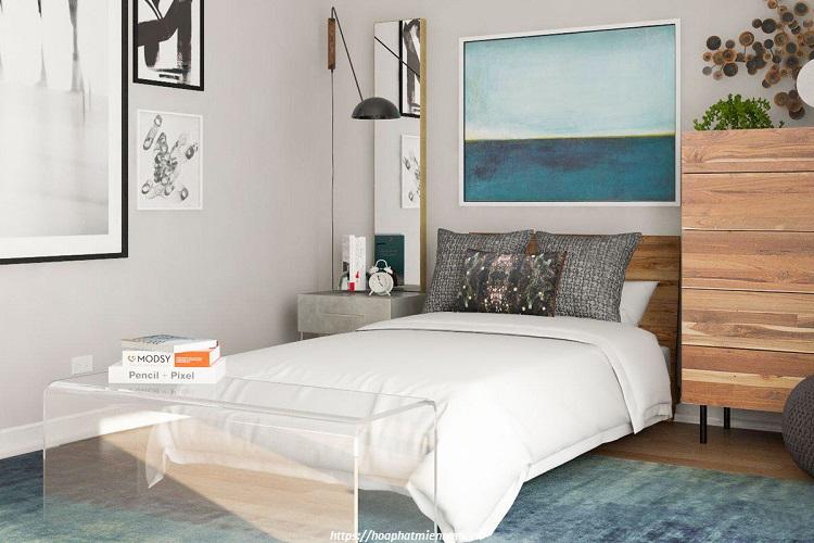 Mẫu thiết kế phòng ngủ với gam màu xanh nhẹ nhàng
