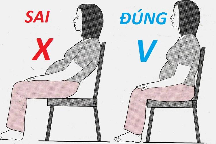 Phụ nữ mang thai cần ngồi đúng tư thế.