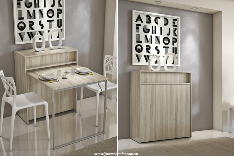 Chiếc bàn này vừa là nơi để sử dụng trong bửa cơm vừa là chiếc tủ trang trí nhỏ