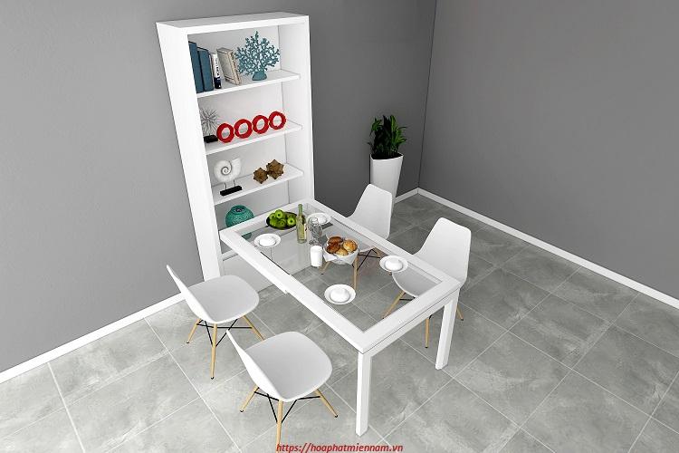 Bộ bàn ăn gấp gọn vào tường kiêm tủ kệ để đồ