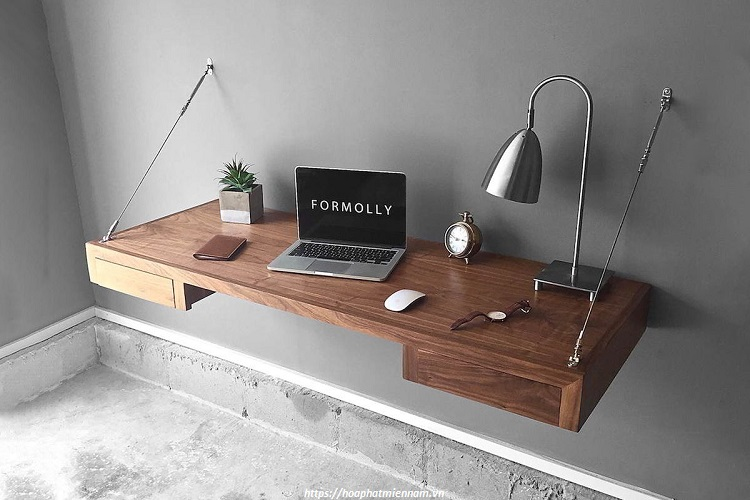 Mẫu bàn đứng gắn tường cực kỳ thông minh, thu gọn diện tích