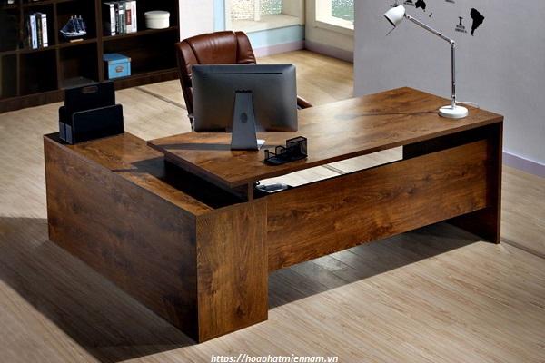 Bàn văn phòng chữ L gỗ tự nhiên cao cấp 1
