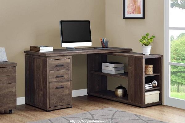Bàn văn phòng chữ L gỗ tự nhiên cao cấp 2