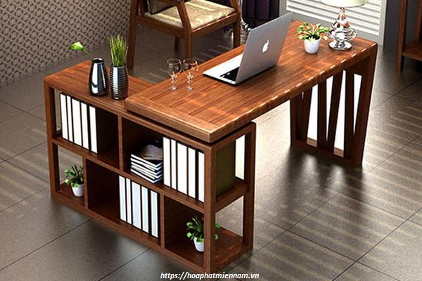 Bàn văn phòng chữ L gỗ tự nhiên cao cấp 4