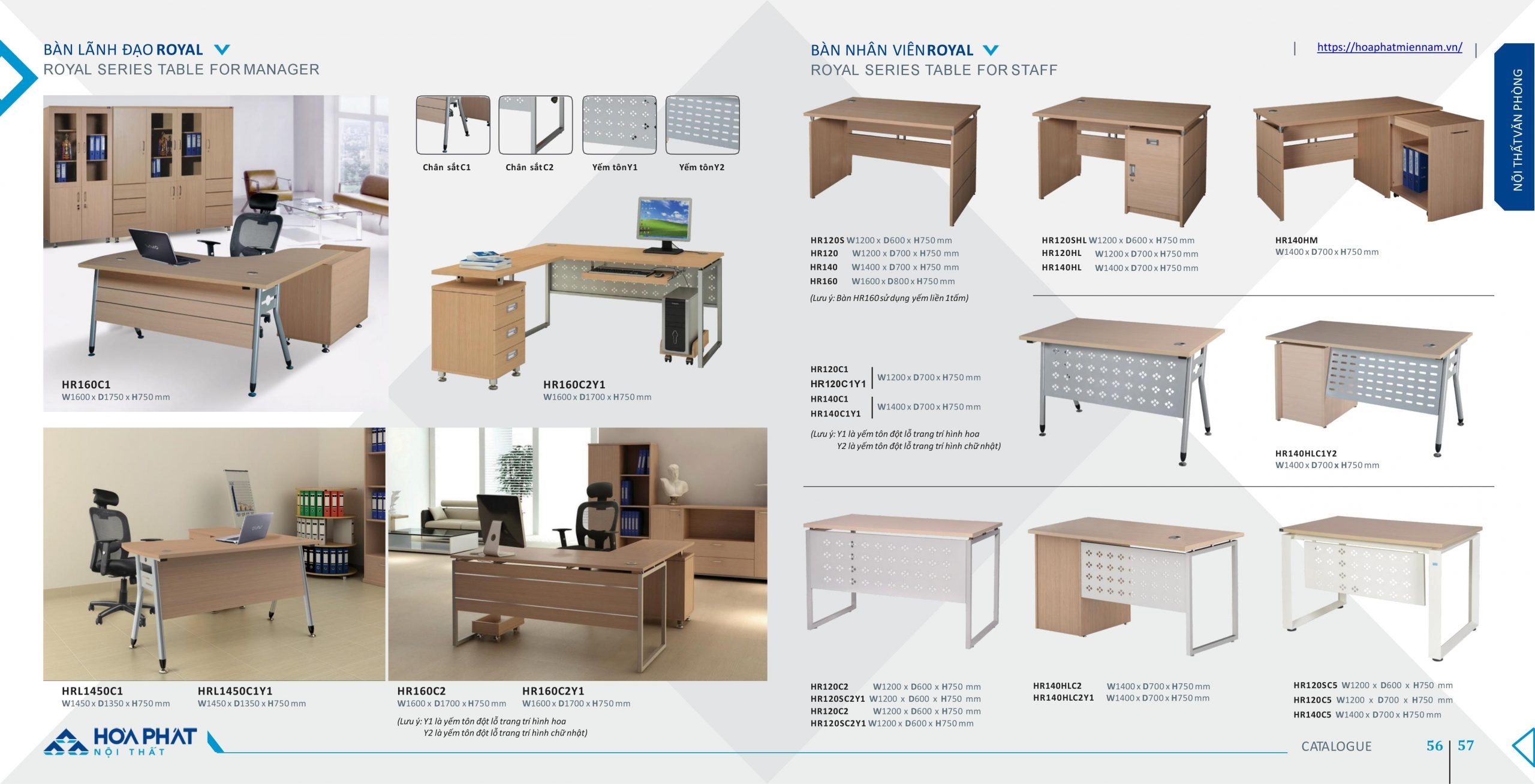 Mẫu bàn văn phòng loại nhỏ phổ biến của Nội Thất Hòa Phát