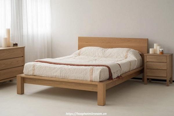 Giường ngủ làm từ gỗ cao su