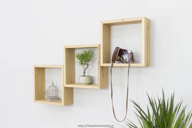 Kệ gỗ trang trí phòng khách treo tường ô vuông bằng gỗ tinh tế