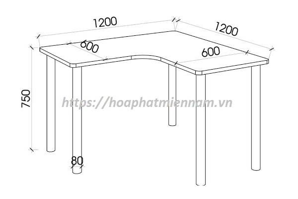 Chiều cao tiêu chuẩn cho bàn làm việc là 750 mm