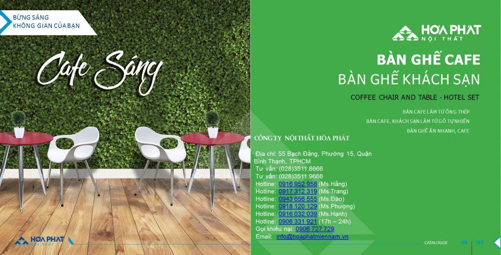Catalogue bàn ghế cafe Hòa Phát 2020