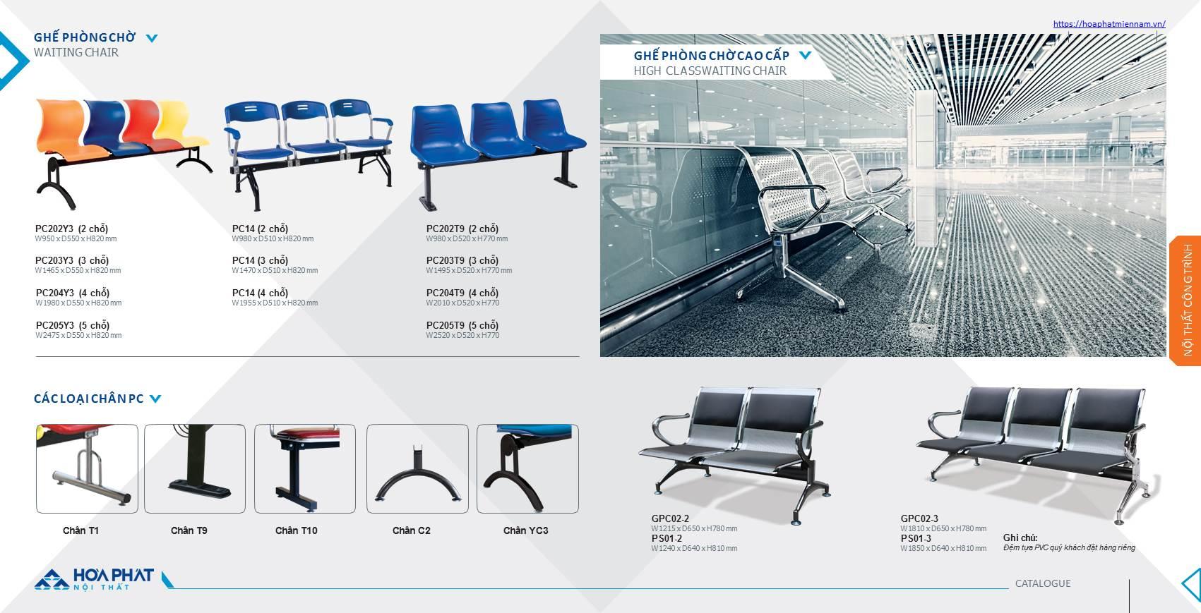Catalogue ghế phòng chờ Hòa Phát